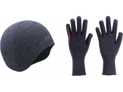 Komplekts cimdi un cepure BBB BBW-296 winterhat/gloves FIT combishield melns